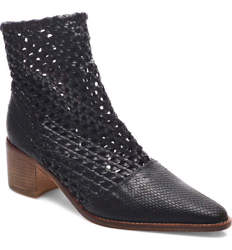 FREE PEOPLE In the Loop Woven Bootie, Main, color, BLACK LEATHER