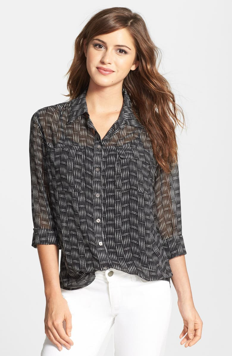TWO BY VINCE CAMUTO Print Utility Shirt, Main, color, 001