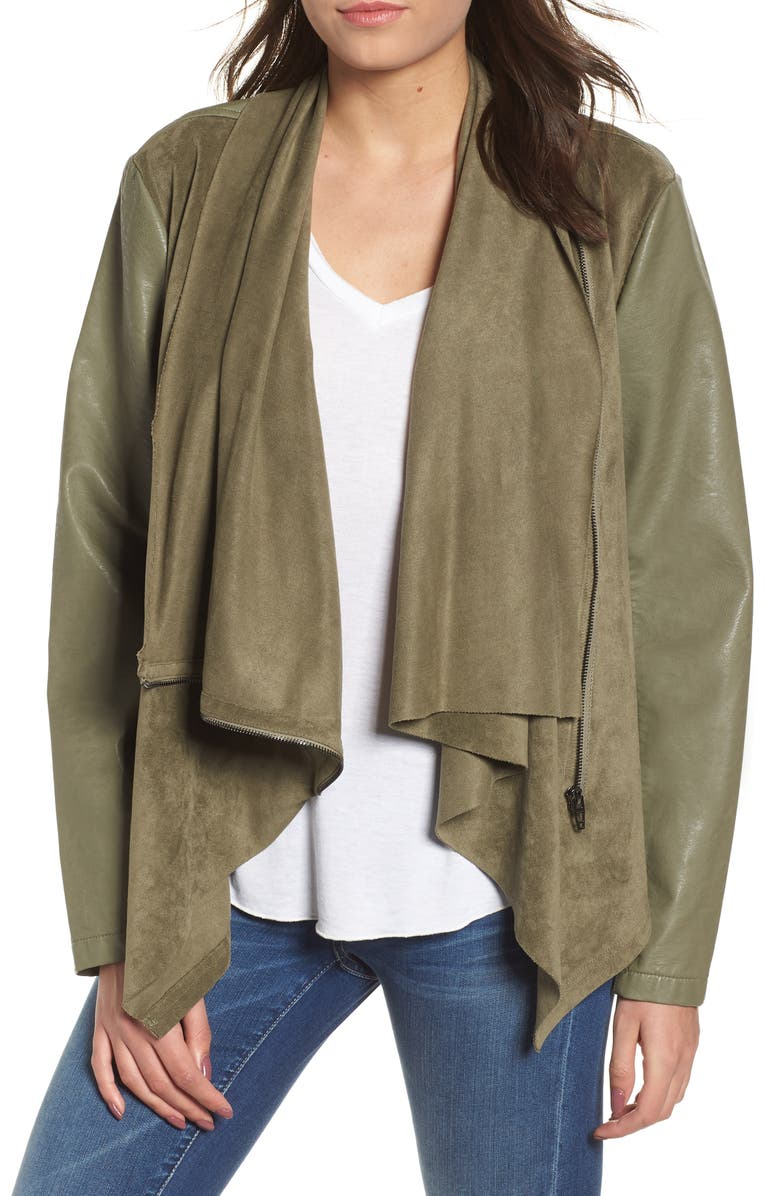 BLANKNYC Drape Front Jacket, Main, color, OLIVE