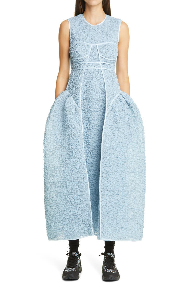 CECILIE BAHNSEN Lia Smocked Organdy Bustier Gown, Main, color, 400