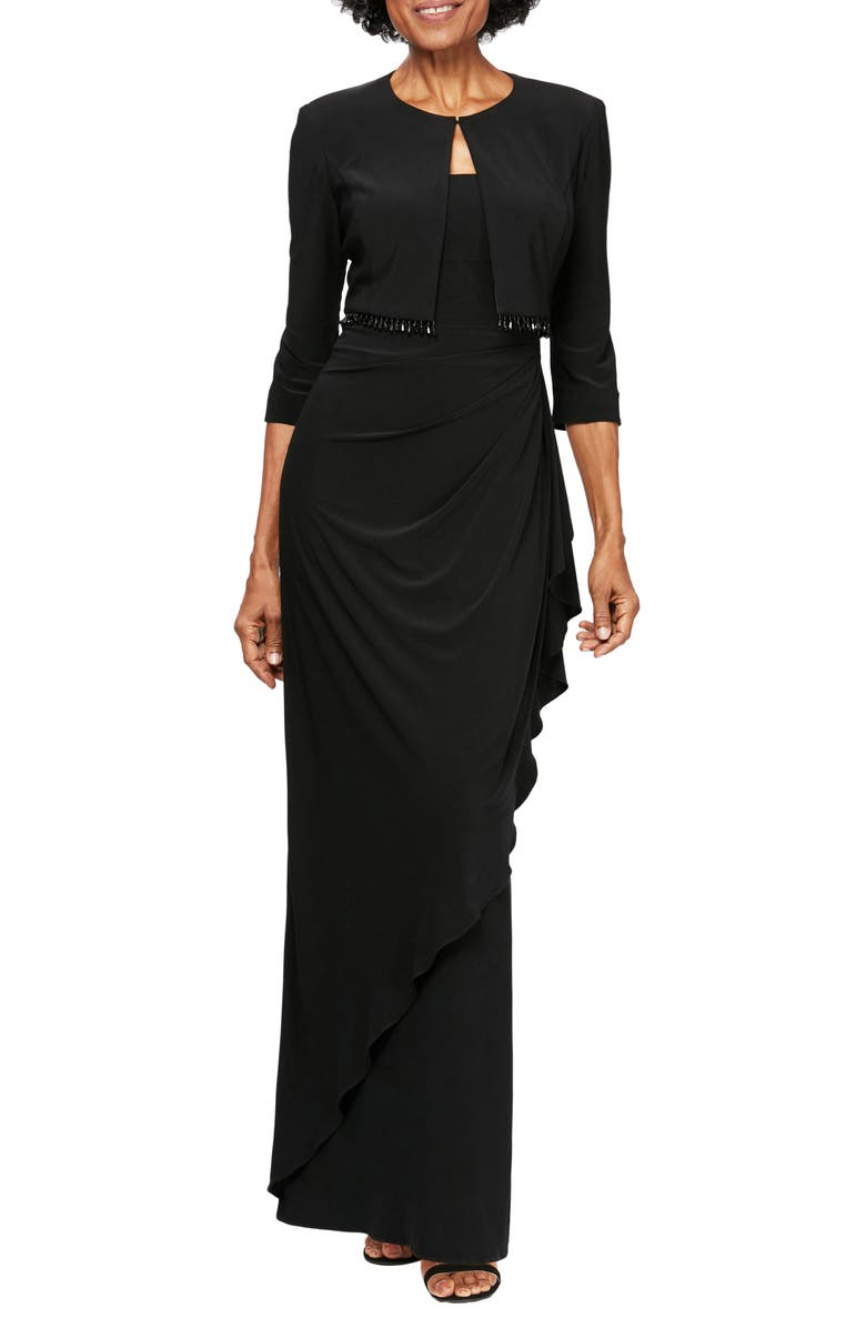 ALEX EVENINGS Ruched Gown with Bolero, Main, color, 001