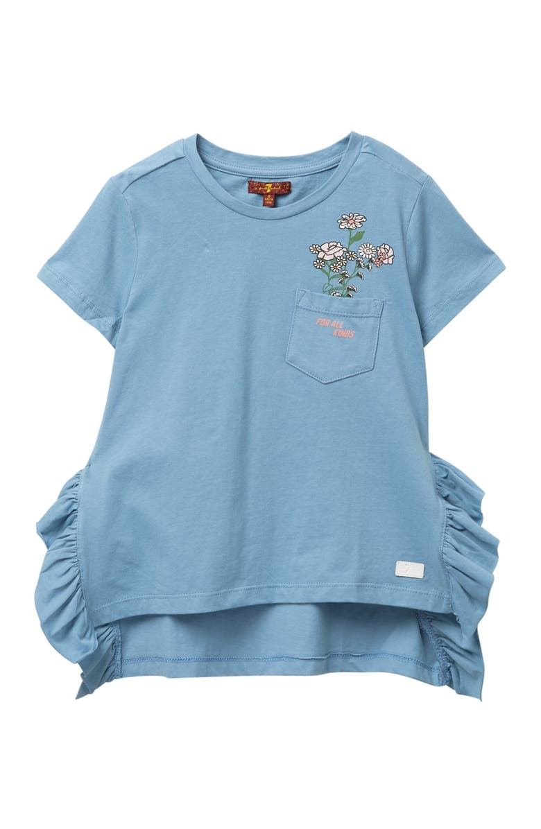 7 FOR ALL MANKIND Ruffled Top, Main, color, CLOUD BLUE