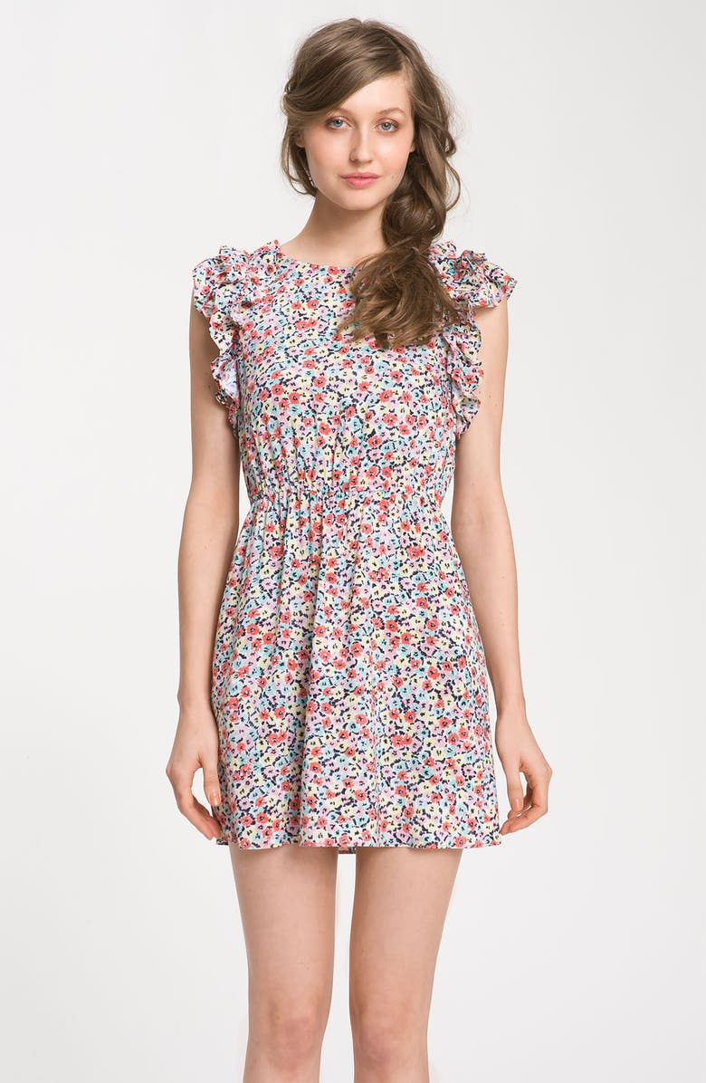 BCBGENERATION Floral Ruffle Sleeve Dress, Main, color, 600