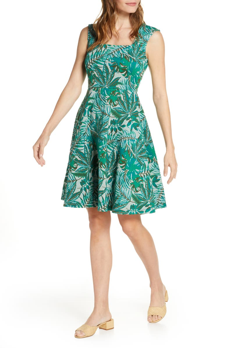 LEOTA Tropical Jacquard Sleeveless Fit & Flare Dress, Main, color, 345