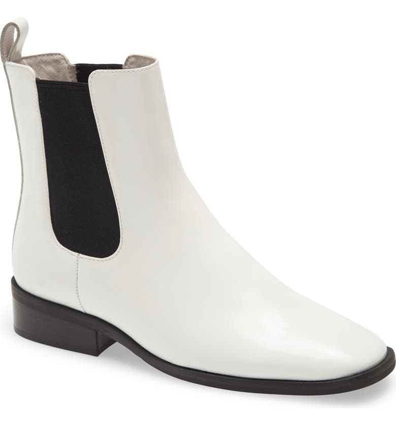 JEFFREY CAMPBELL Jeffery Campbell Leather Chelsea Boot, Main, color, WHITE BOX BLACK