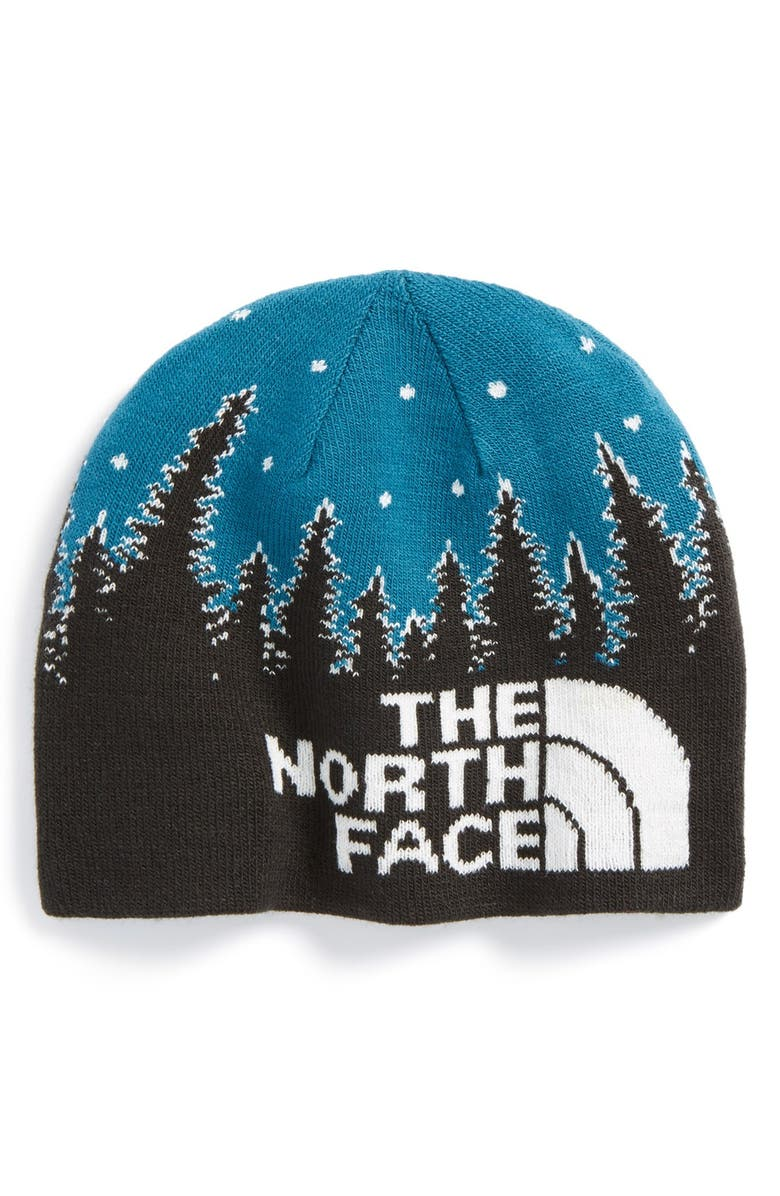 THE NORTH FACE 'Anders' Glow-in-the-Dark Reversible Beanie, Main, color, TNF BLACK/ EGYPTIAN BLUE