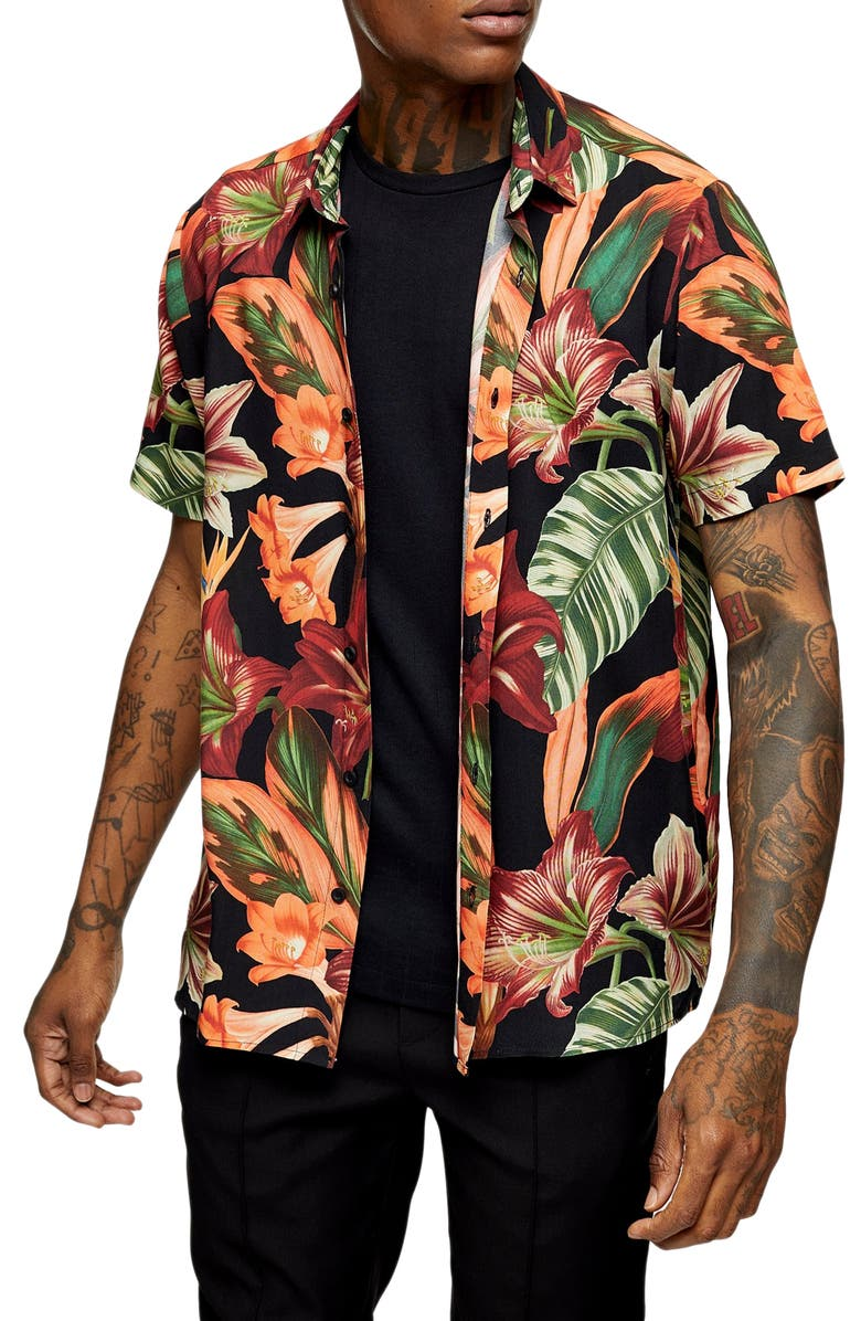 TOPMAN Lily Slim Fit Floral Short Sleeve Button-Up Shirt, Main, color, BLACK MULTI