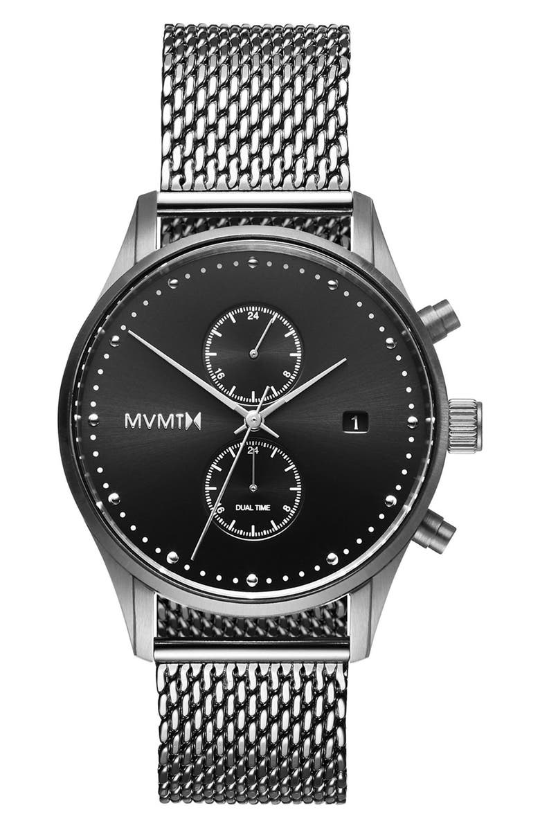 MVMT Voyager Chronograph Mesh Strap Watch, 42mm, Main, color, 041