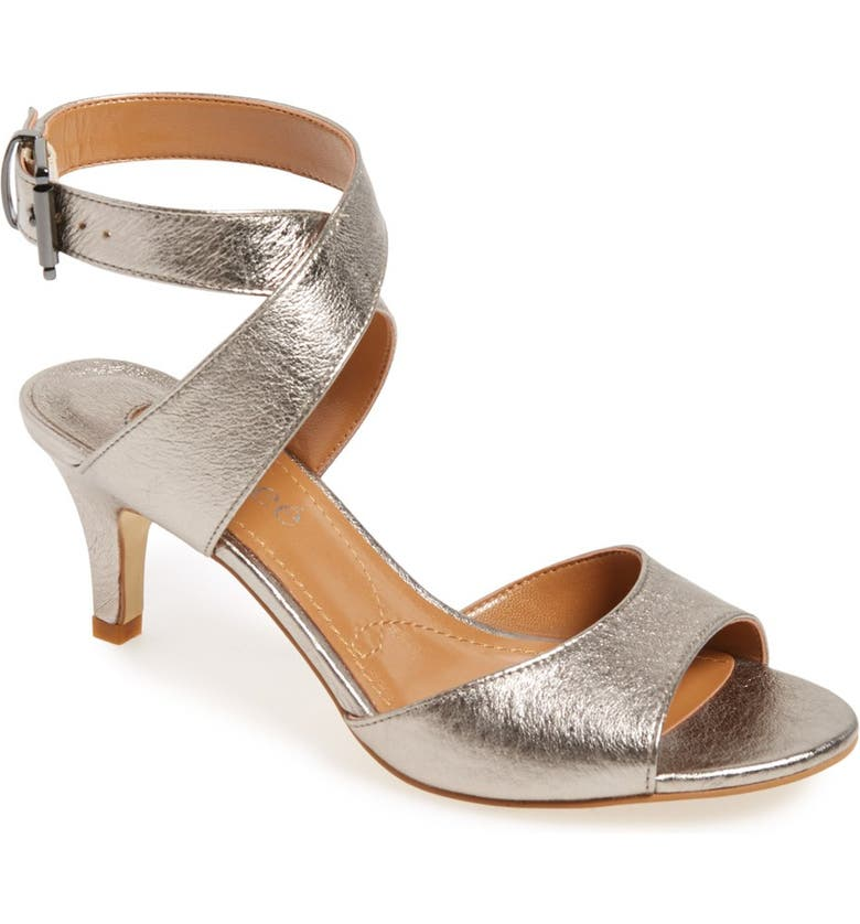 J. RENEÉ 'Soncino' Ankle Strap Sandal, Main, color, METALLIC TAUPE LEATHER