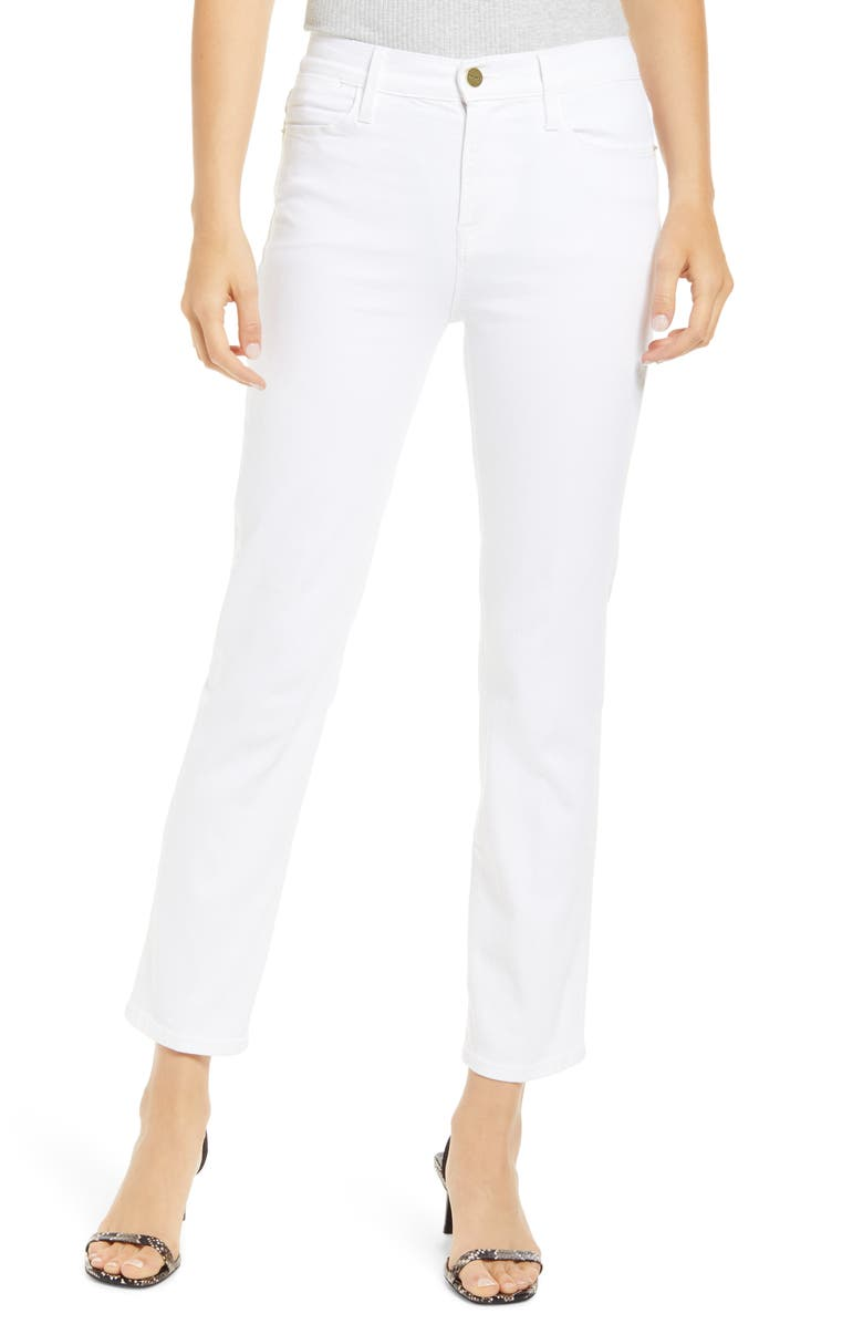 FRAME Le High Ankle Straight Leg Jeans, Main, color, BLANC