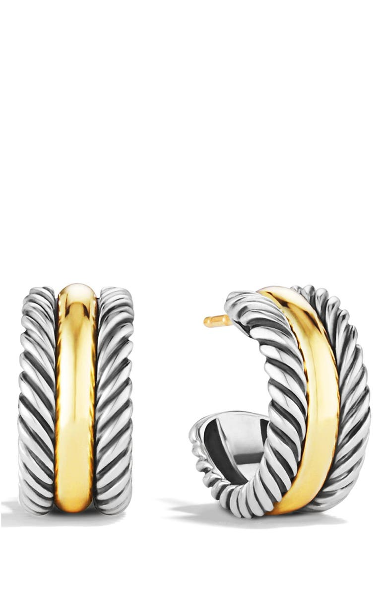 DAVID YURMAN 'Cable Classics' Hoop Earrings with Gold, Main, color, TWO TONE
