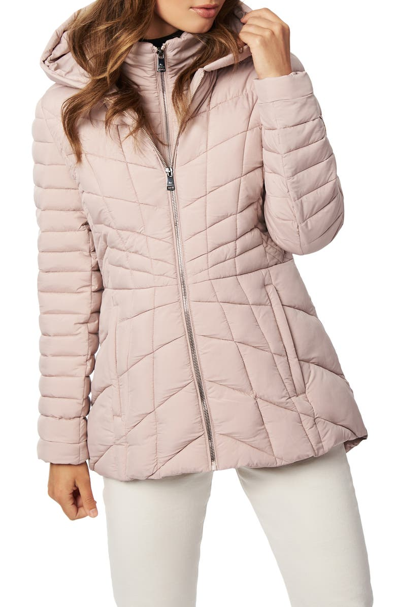 BERNARDO Micro Touch Water Resistant Quilted Jacket, Main, color, PETAL PINK