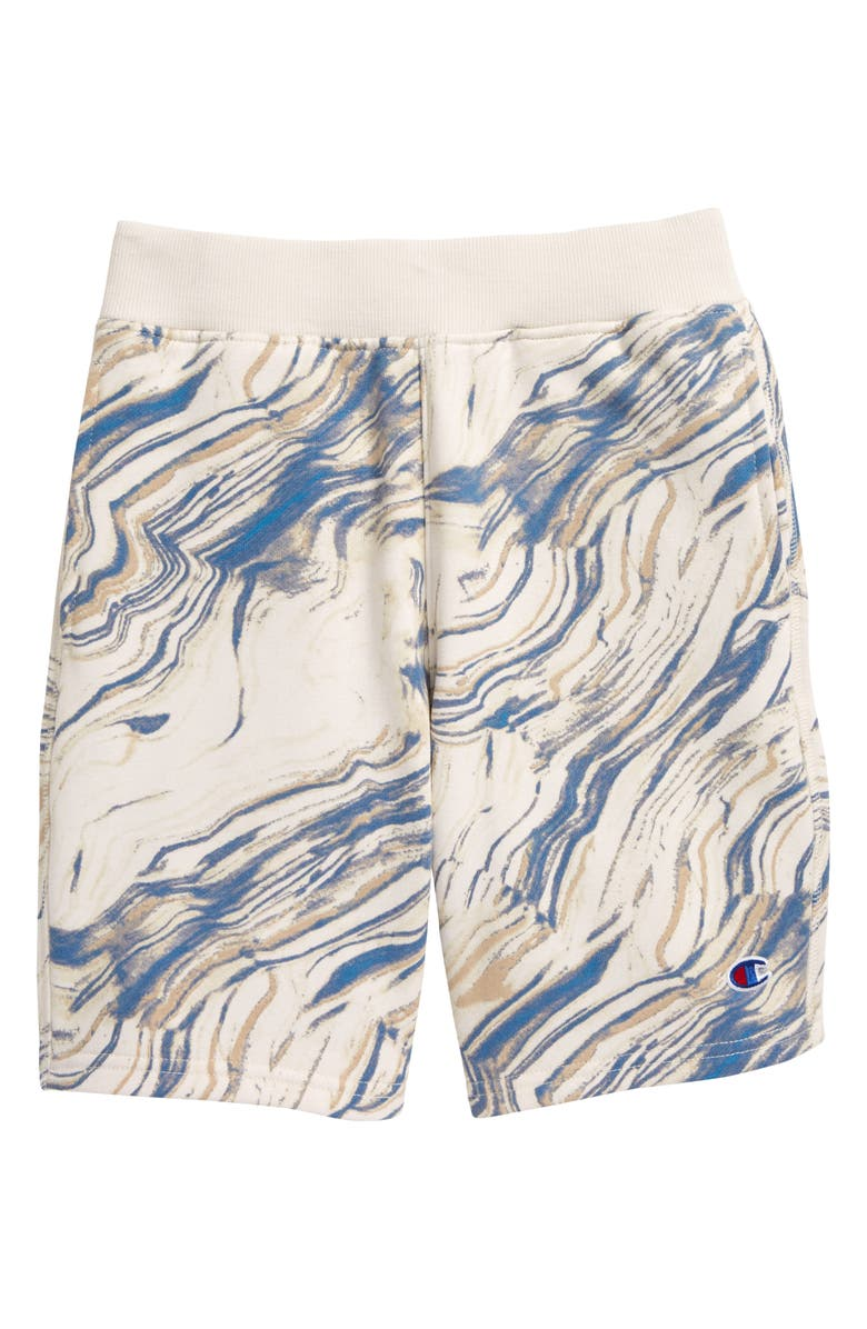 CHAMPION Kids' Marble Flow Athletic Shorts, Main, color, CHALK WHITE