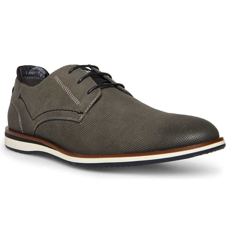 MADDEN Hullai Perforated Plain Toe Derby, Main, color, GREY