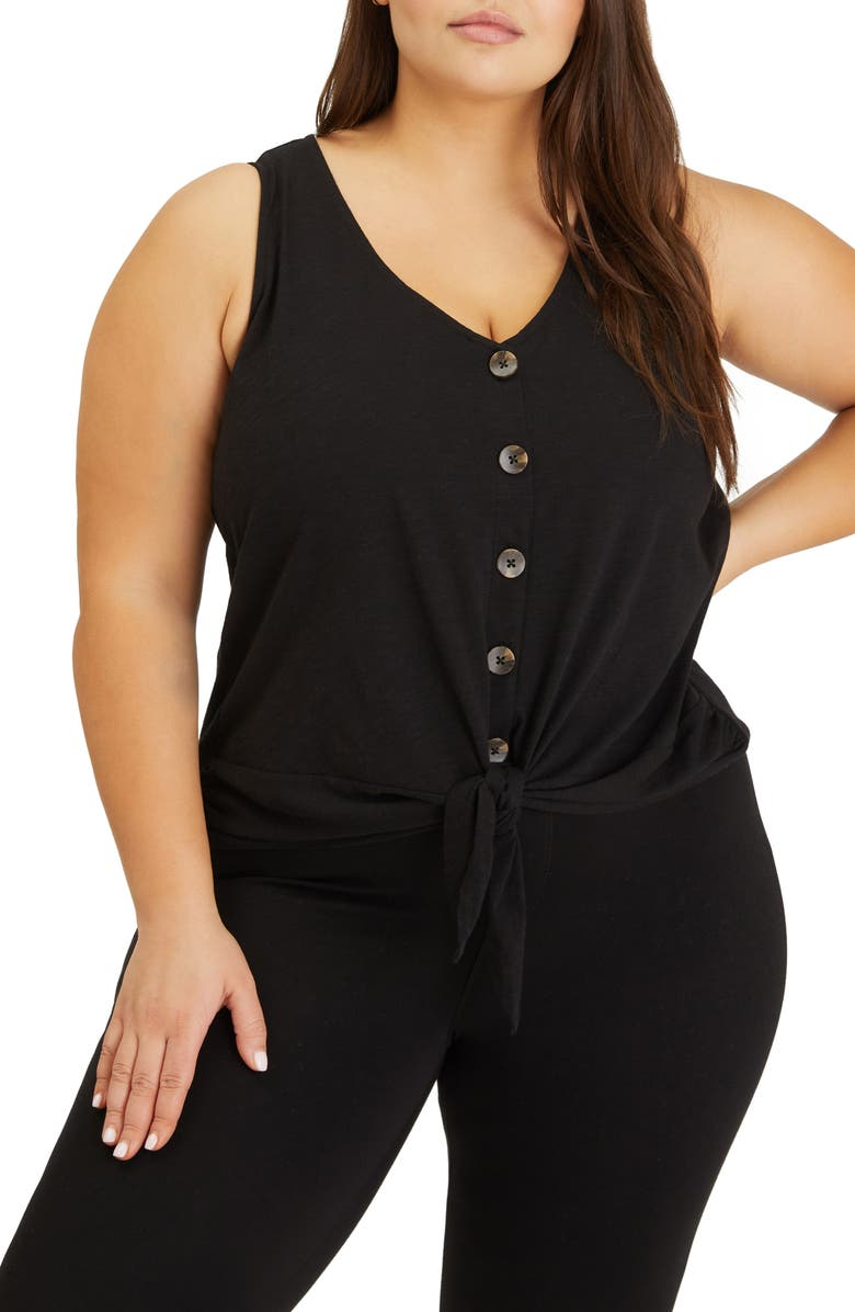 SANCTUARY Tie To Keep Up Sleeveless Button-Up Top, Main, color, 001