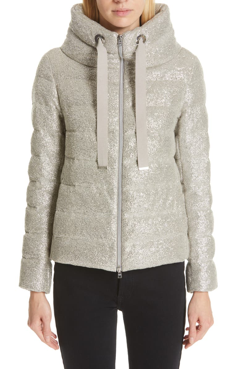HERNO Pleat Back Quilted Down Sparkle Knit Jacket, Main, color, 020
