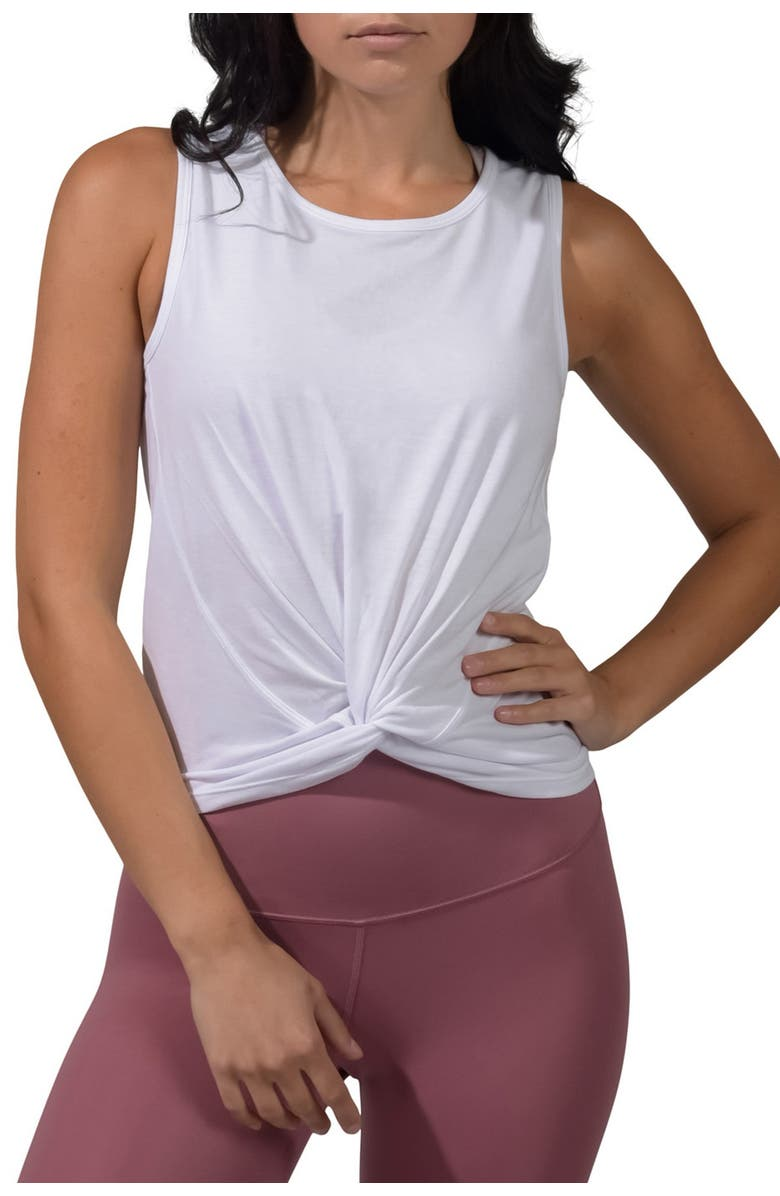 90 DEGREE BY REFLEX Twist Front Tank Top, Main, color, WHITE - WHITE