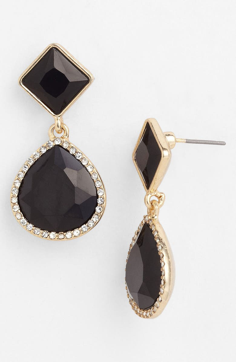 ANNE KLEIN Drop Earrings, Main, color, JET/ CLEAR CRYSTAL/ GOLD