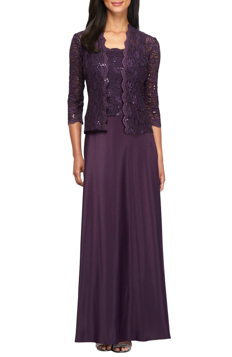 ALEX EVENINGS Sequin Lace & Satin Gown with Jacket, Main, color, EGGPLANT