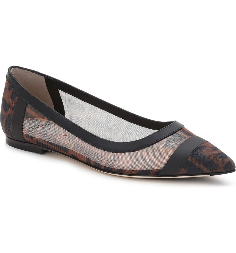 FENDI Colibri Logo Pointed Toe Flat, Main, color, BLACK