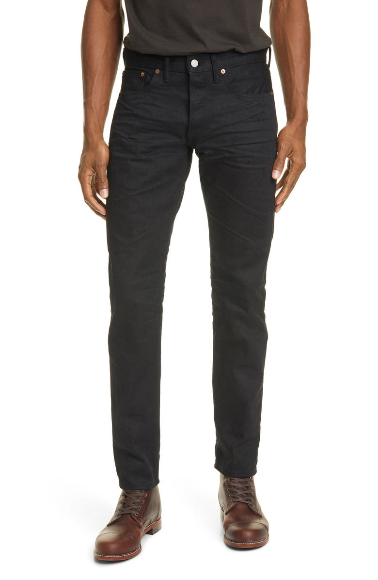 RRL Slim Fit Selvedge Jeans, Main, color, 001