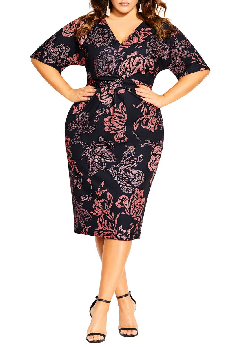 CITY CHIC Etched Bloom Dress, Main, color, 001