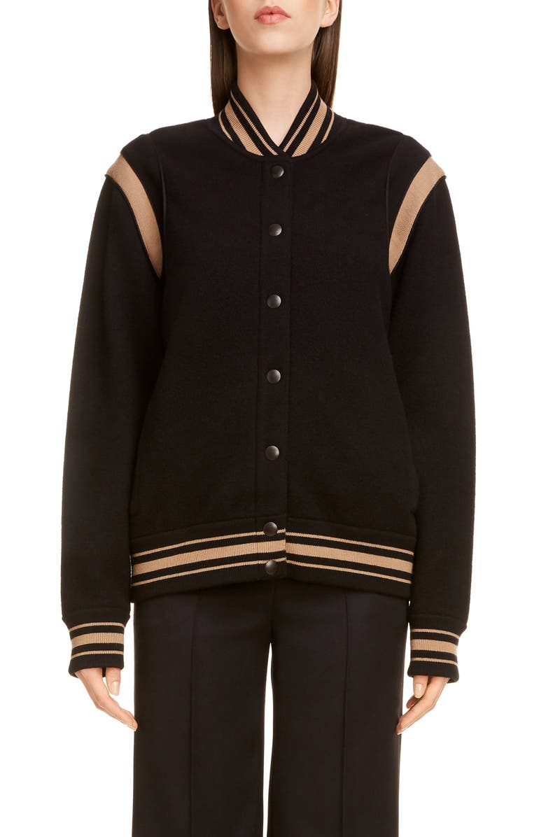GIVENCHY Logo Bomber Jacket, Main, color, BLACK/ BEIGE