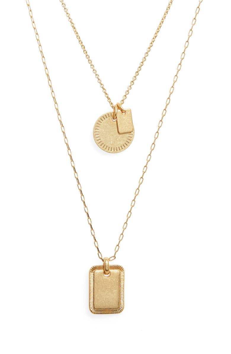 MADEWELL Etched Coin Necklace Set, Main, color, VINTAGE GOLD