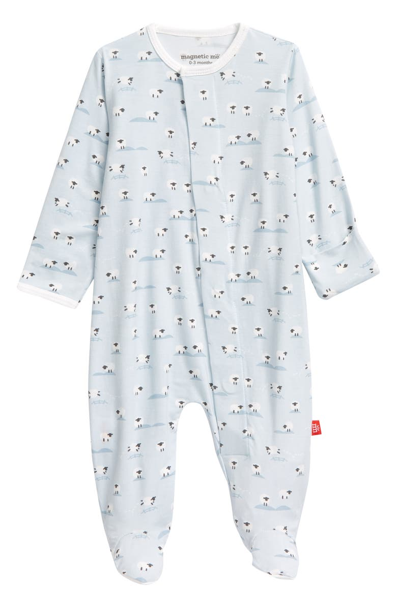 MAGNETIC ME Baa Baa Baby Sheep Print Footie, Main, color, 404