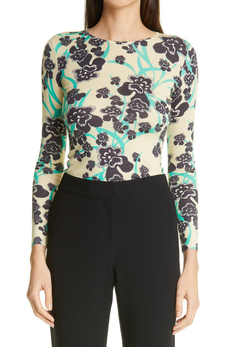 ST. JOHN COLLECTION Orchid Print Wool & Silk Sweater, Main, color, CHAMOMILE MULTI
