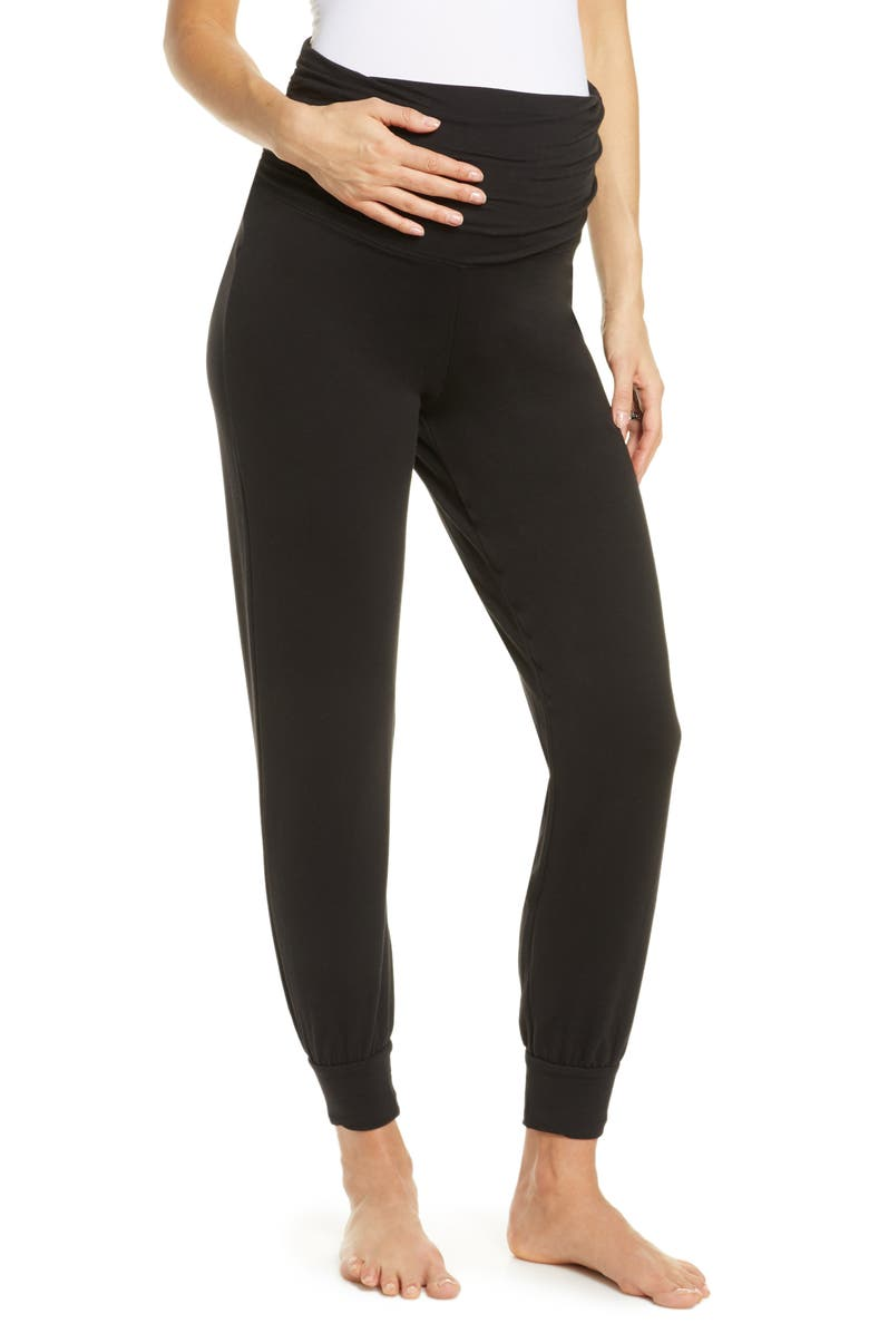 BELABUMBUM Athleisure Foldover Maternity Joggers, Main, color, BLACK