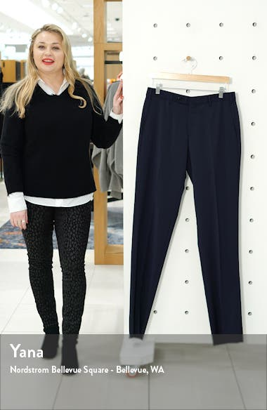 Parker Flat Front Solid Stretch Wool Trousers, sales video thumbnail
