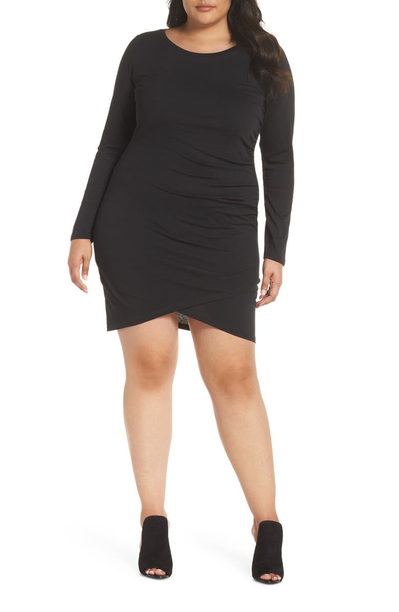 LEITH Ruched Body-Con Dress, Main, color, 001
