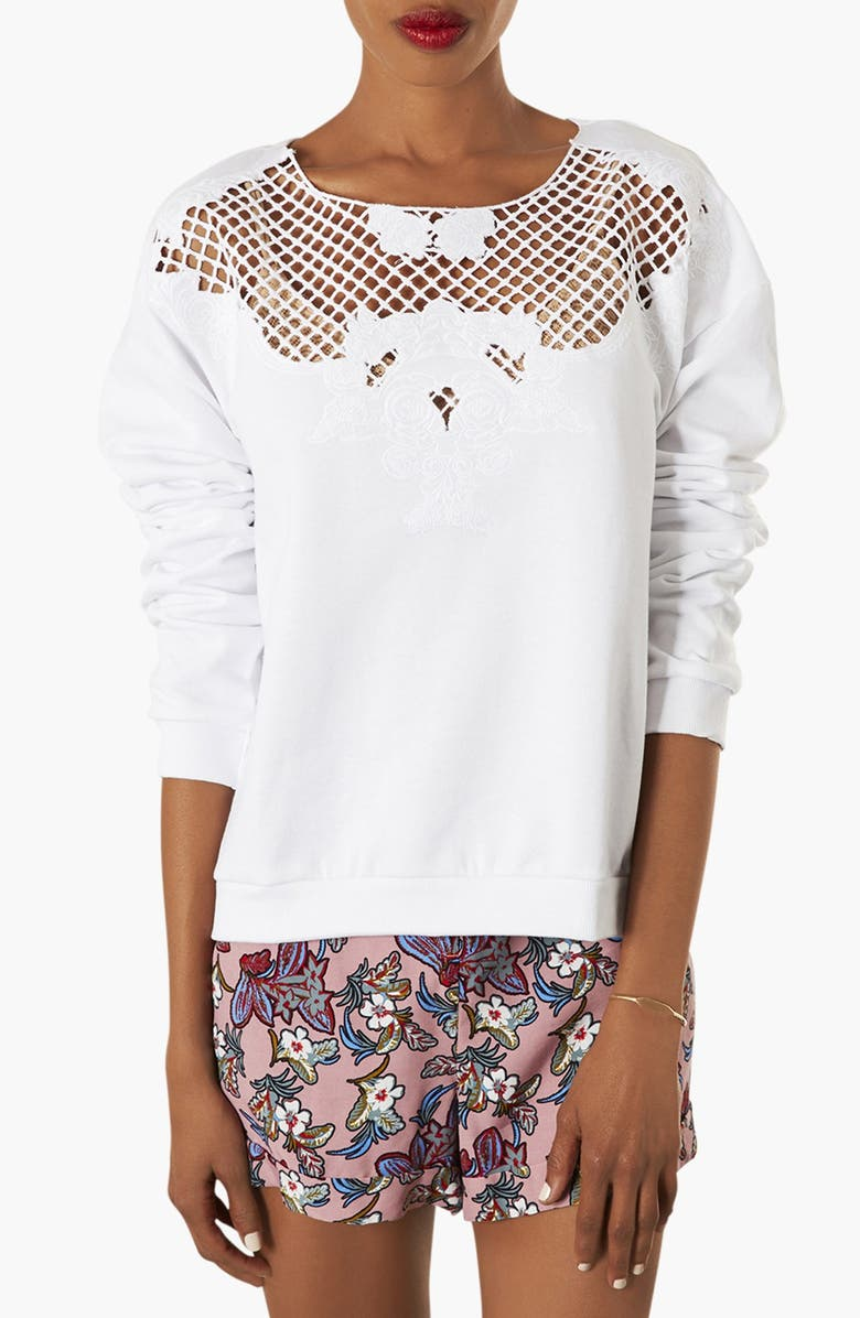 TOPSHOP Embroidered Cutwork Sweatshirt, Main, color, WHITE