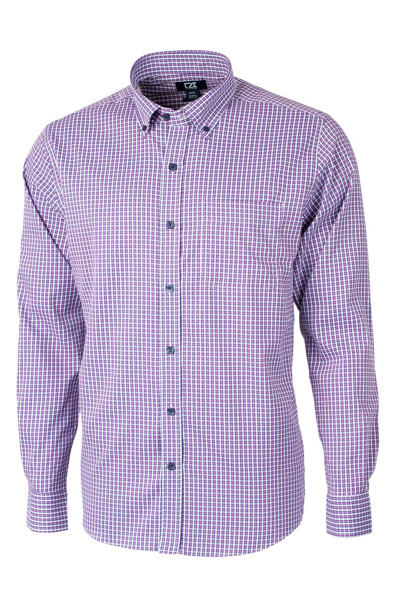 CUTTER & BUCK Versatech Multi Check Classic Fit Button-Up Performance Shirt, Main, color, ASTER