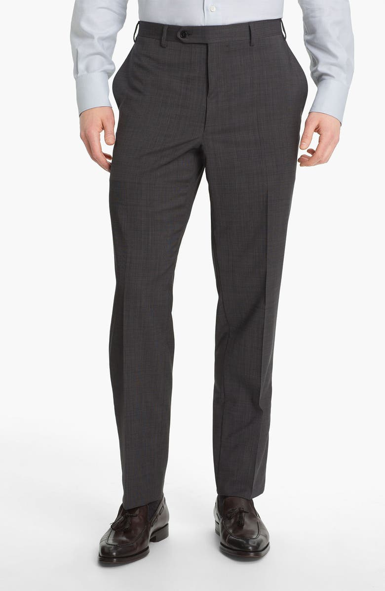 CANALI Flat Front Classic Fit Wool Dress Pants, Main, color, GREY