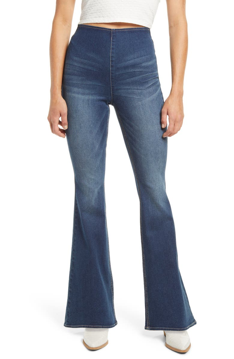 TINSEL High Waist Flare Pull-On Jeans, Main, color, DARK WASH