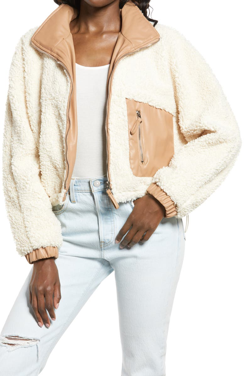 BLANKNYC Faux Shearling with Faux Leather Trim Bomber Jacket, Main, color, SILVER LINING