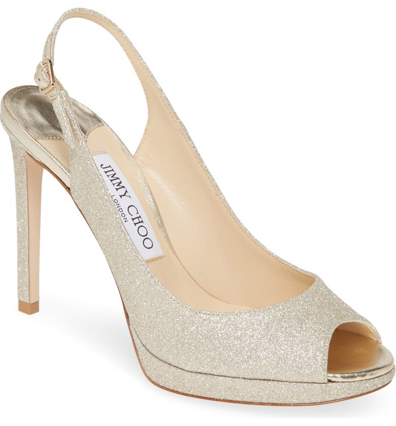 JIMMY CHOO Nova Metallic Slingback Sandal, Main, color, PLATINUM ICE