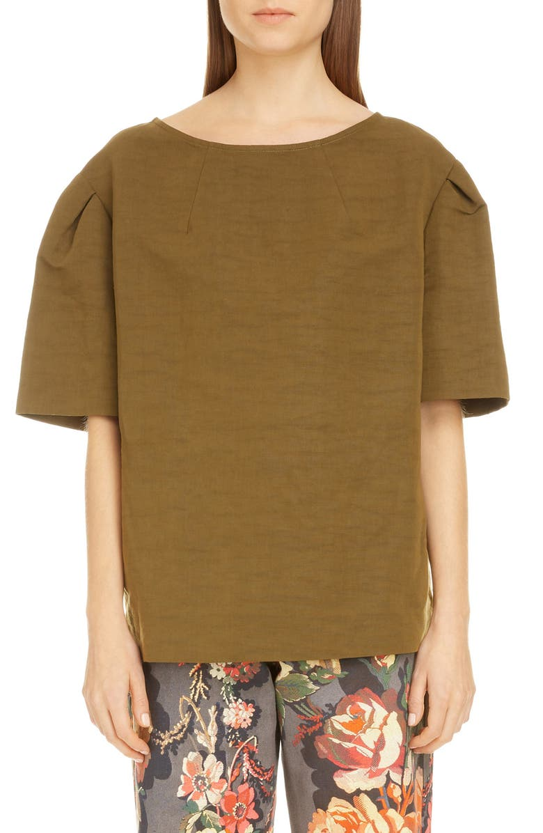 DRIES VAN NOTEN Creoly Linen & Cotton Top, Main, color, 300
