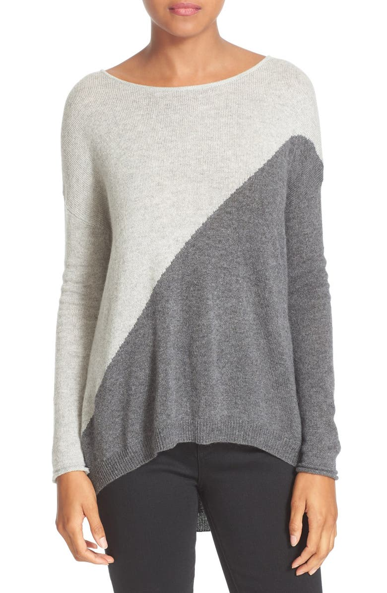 ALICE + OLIVIA Abbie Colorblock High/Low Pullover, Main, color, 054