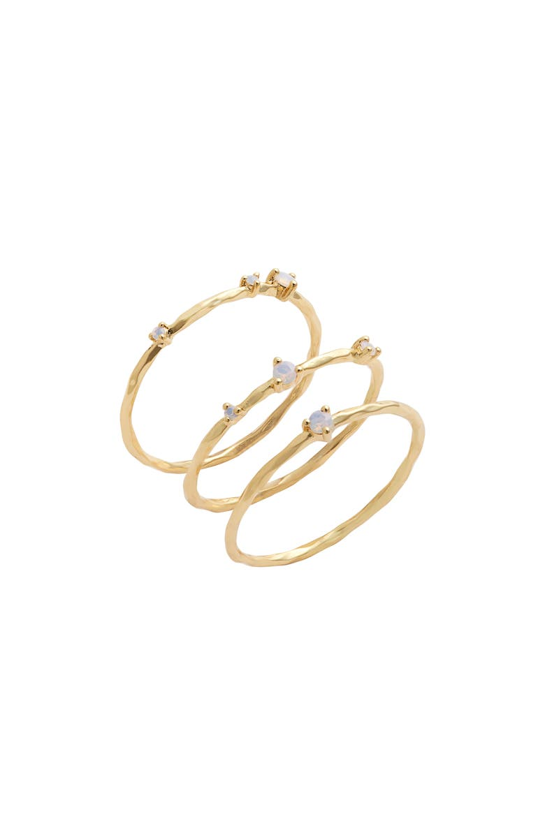 GORJANA Cleo Set of 3 Stacking Rings, Main, color, WHITE OPALITE/ GOLD
