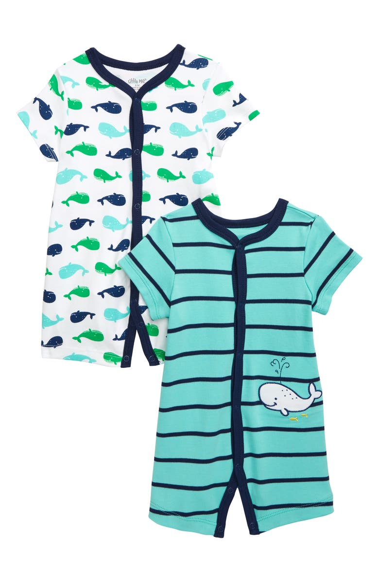 LITTLE ME Whale 2-Pack Rompers, Main, color, 440