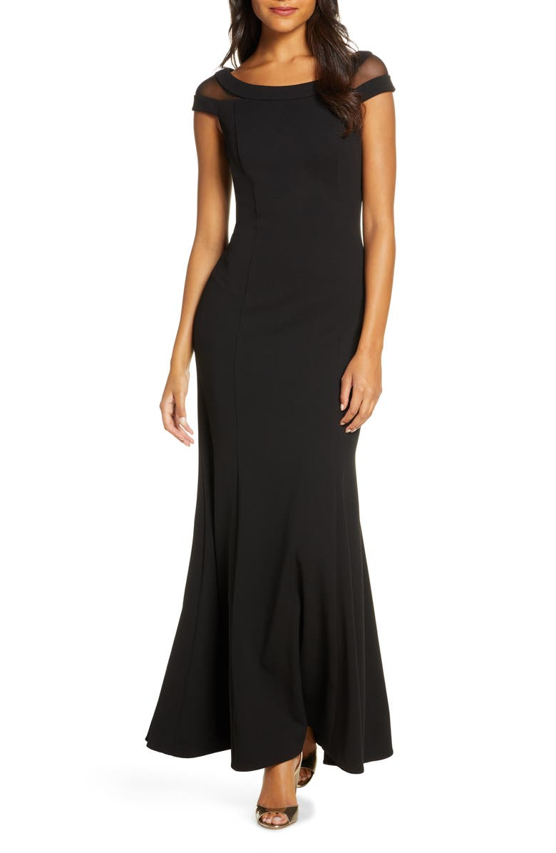 VINCE CAMUTO Boat Neck Evening Gown, Main, color, 001