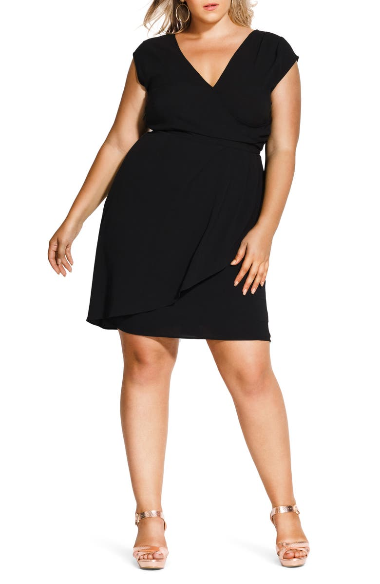CITY CHIC Classic Wrap Style Dress, Main, color, 001