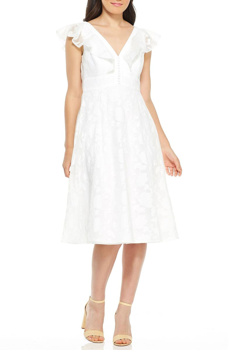 GAL MEETS GLAM COLLECTION Susie Floral Organza Fit & Flare Dress, Main, color, WHITE