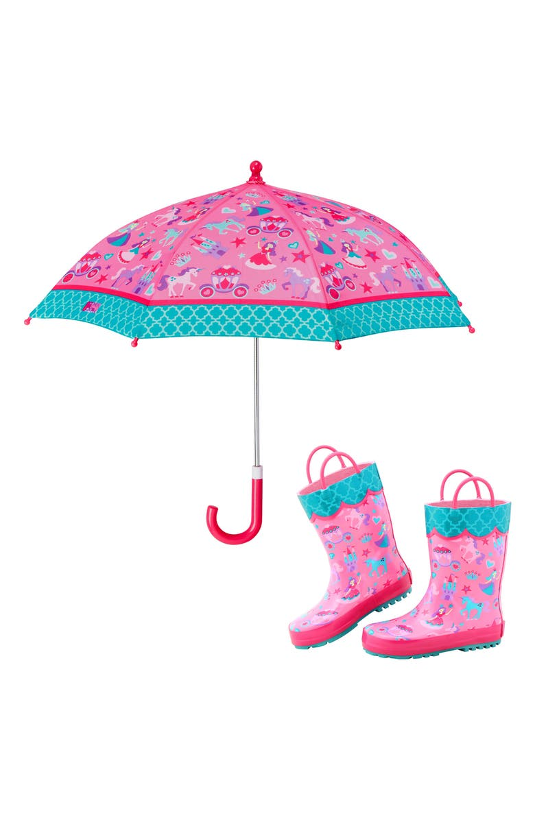 STEPHEN JOSEPH Print Rain Boots & Umbrella Set, Main, color, PRINCESS