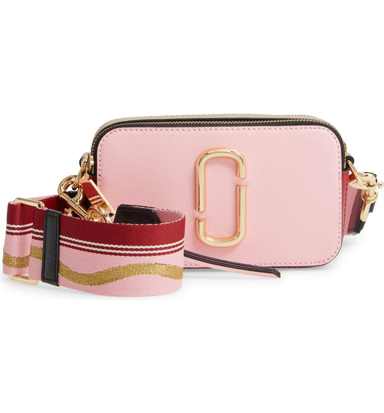 THE MARC JACOBS The Snapshot Leather Crossbody Bag, Main, color, NEW BABY PINK/ RED