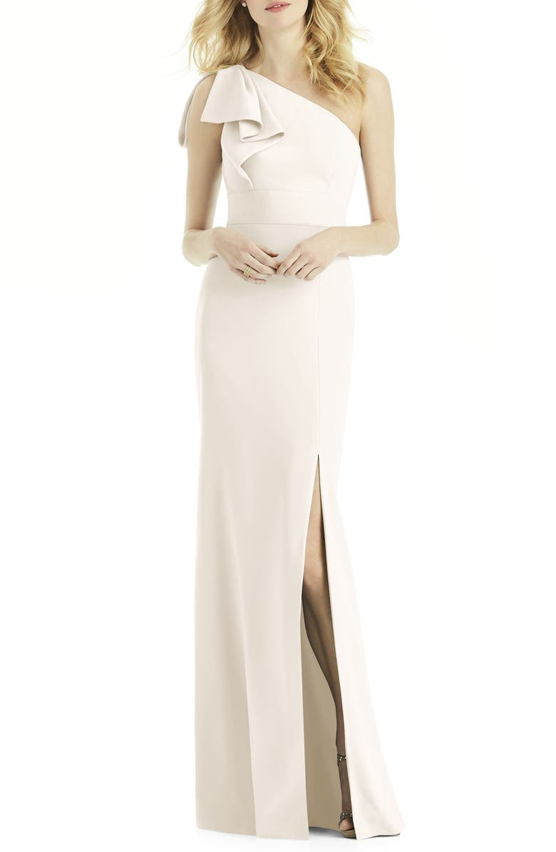 AFTER SIX Bow One-Shoulder Trumpet Gown, Main, color, IVORY