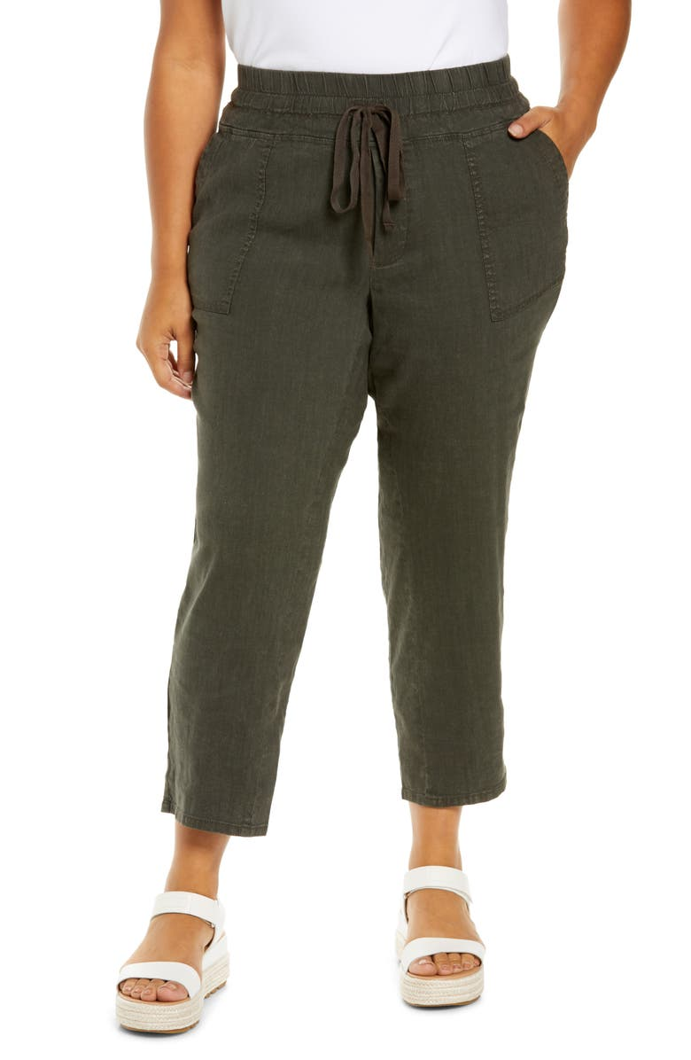 KUT FROM THE KLOTH Linen Blend Drawstring Pants, Main, color, DARK OLIVE
